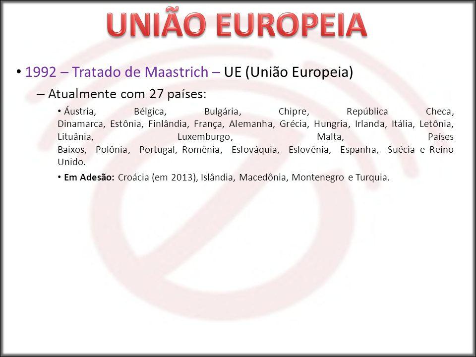 1992 – Tratado de Maastrich – UE (União Europeia) – Atualmente com 27 países: Áustria, Bélgica, Bulgária, Chipre, República Checa, Dinamarca, Estônia,