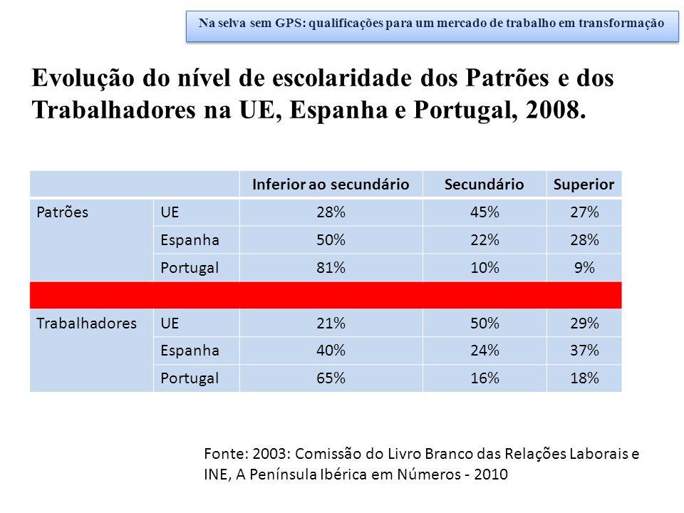 Fonte: 2003: Comissão do Livro Branco das Relações Laborais e INE, A Península Ibérica em Números - 2010 Inferior ao secundárioSecundárioSuperior Patr
