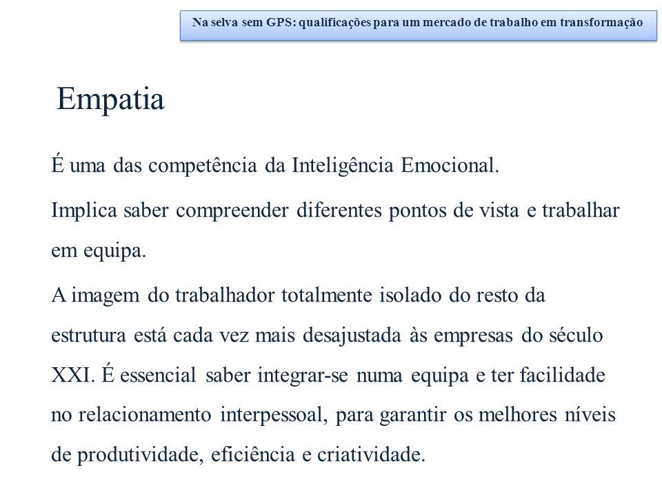 Empatia É uma das competência da Inteligência Emocional. Implica saber compreender diferentes pontos de vista e trabalhar em equipa. A imagem do traba