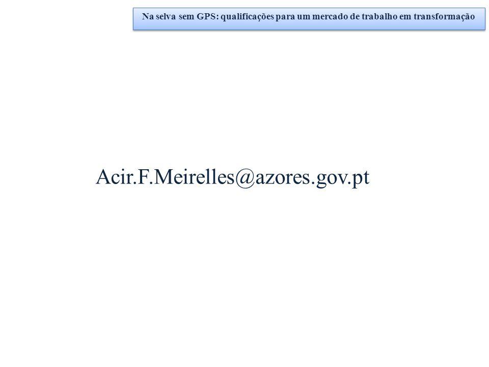 Na selva sem GPS: qualificações para um mercado de trabalho em transformação Acir.F.Meirelles@azores.gov.pt