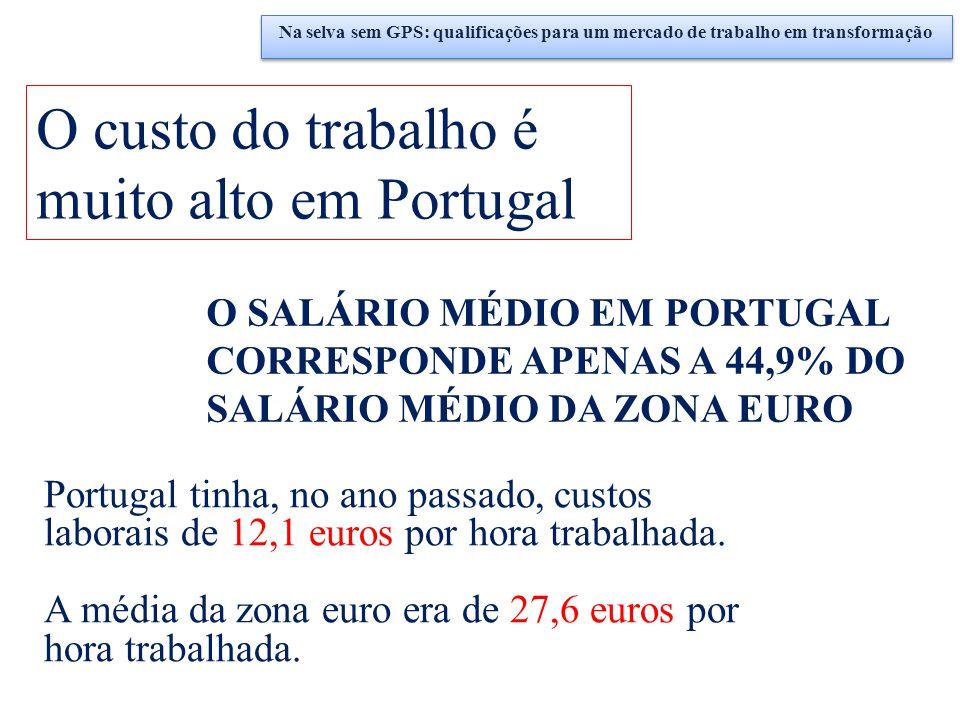 O custo do trabalho é muito alto em Portugal O SALÁRIO MÉDIO EM PORTUGAL CORRESPONDE APENAS A 44,9% DO SALÁRIO MÉDIO DA ZONA EURO Portugal tinha, no a