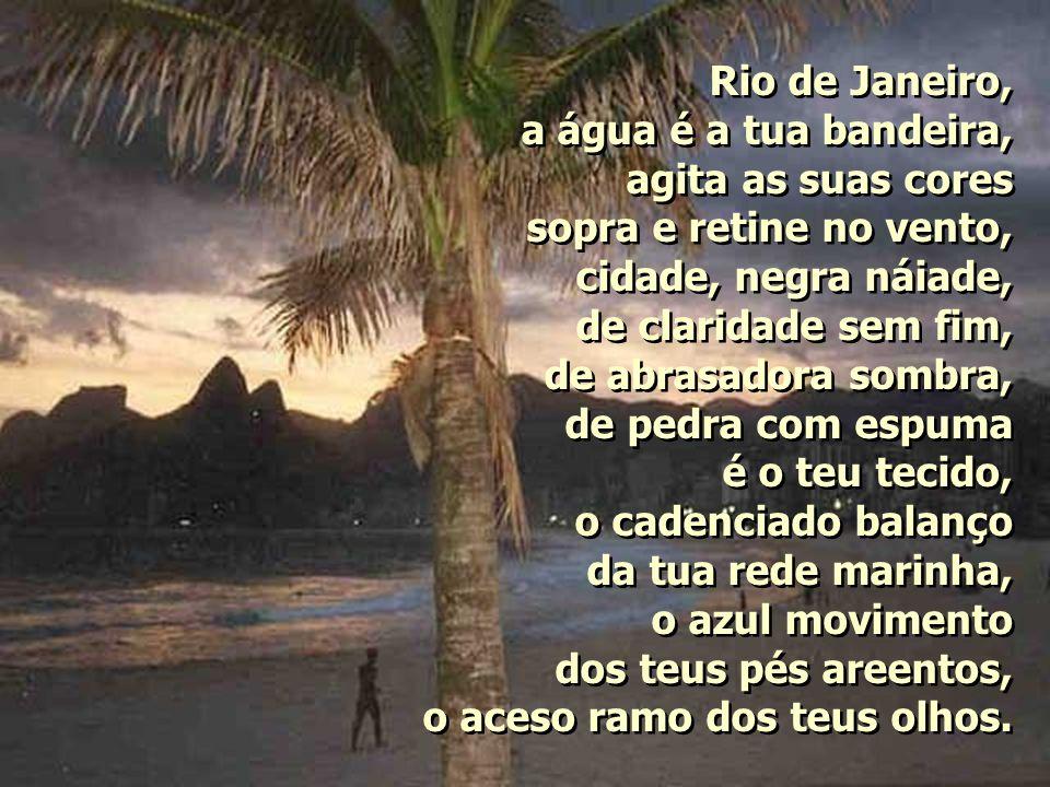 Rio de Janeiro, a água é a tua bandeira, agita as suas cores sopra e retine no vento, cidade, negra náiade, de claridade sem fim, de abrasadora sombra, de pedra com espuma é o teu tecido, o cadenciado balanço da tua rede marinha, o azul movimento dos teus pés areentos, o aceso ramo dos teus olhos.