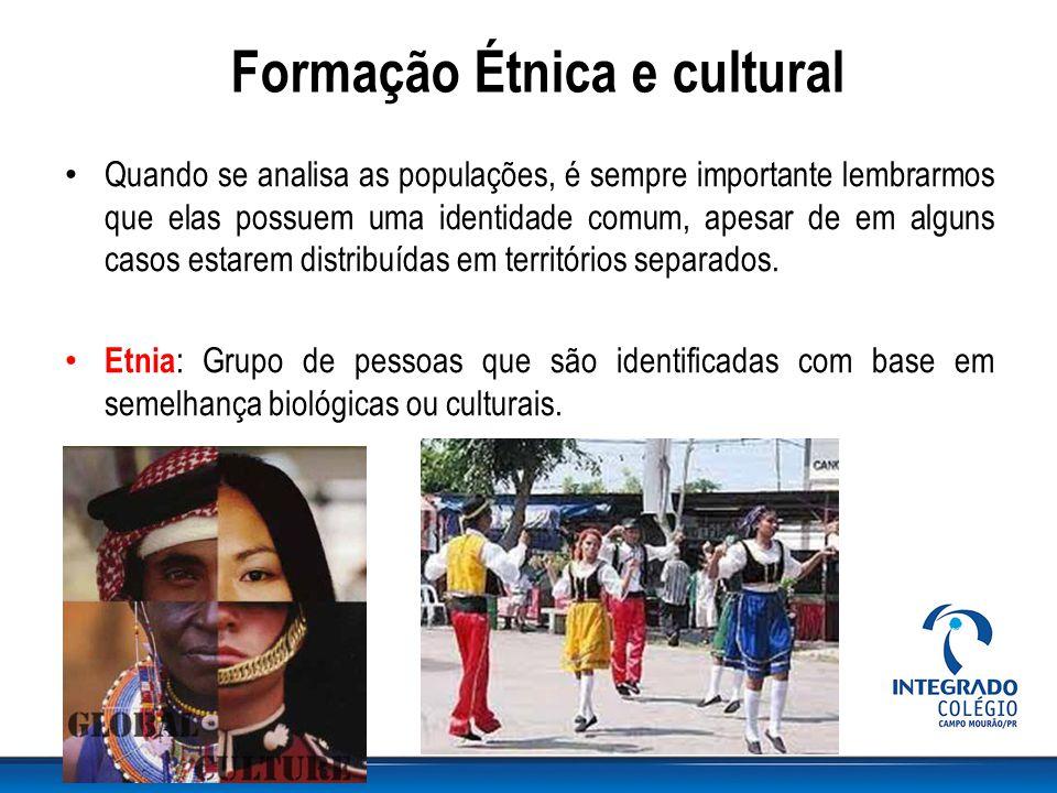 Formação Étnica e cultural Quando se analisa as populações, é sempre importante lembrarmos que elas possuem uma identidade comum, apesar de em alguns casos estarem distribuídas em territórios separados.