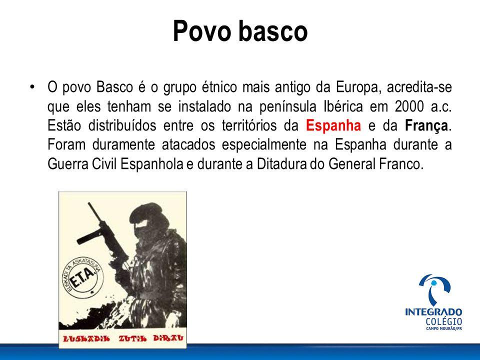 Povo basco O povo Basco é o grupo étnico mais antigo da Europa, acredita-se que eles tenham se instalado na península Ibérica em 2000 a.c. Estão distr