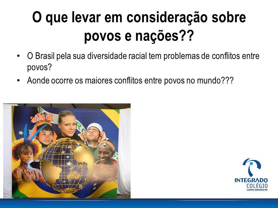 O que levar em consideração sobre povos e nações?? O Brasil pela sua diversidade racial tem problemas de conflitos entre povos? Aonde ocorre os maiore