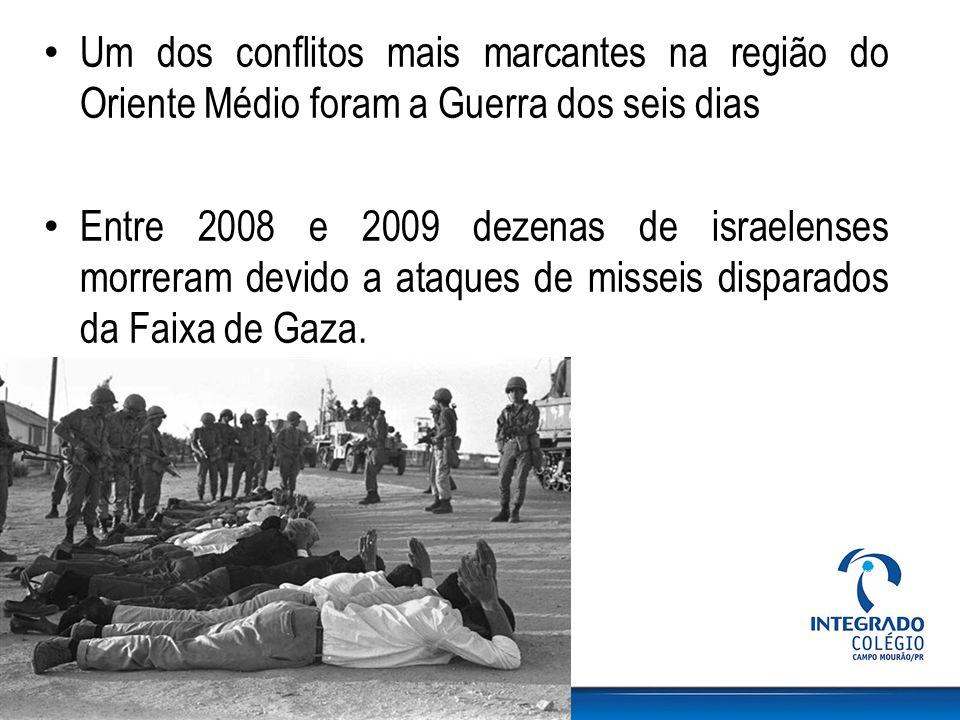 Um dos conflitos mais marcantes na região do Oriente Médio foram a Guerra dos seis dias Entre 2008 e 2009 dezenas de israelenses morreram devido a ata