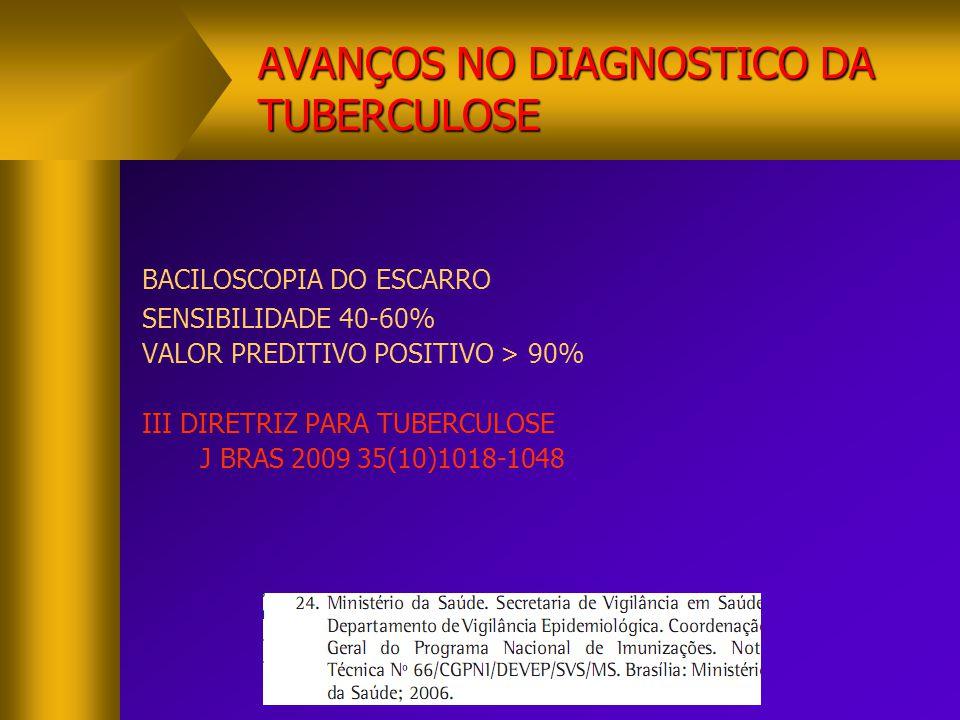 BACILOSCOPIA DO ESCARRO SENSIBILIDADE 40-60% VALOR PREDITIVO POSITIVO > 90% III DIRETRIZ PARA TUBERCULOSE J BRAS 2009 35(10)1018-1048