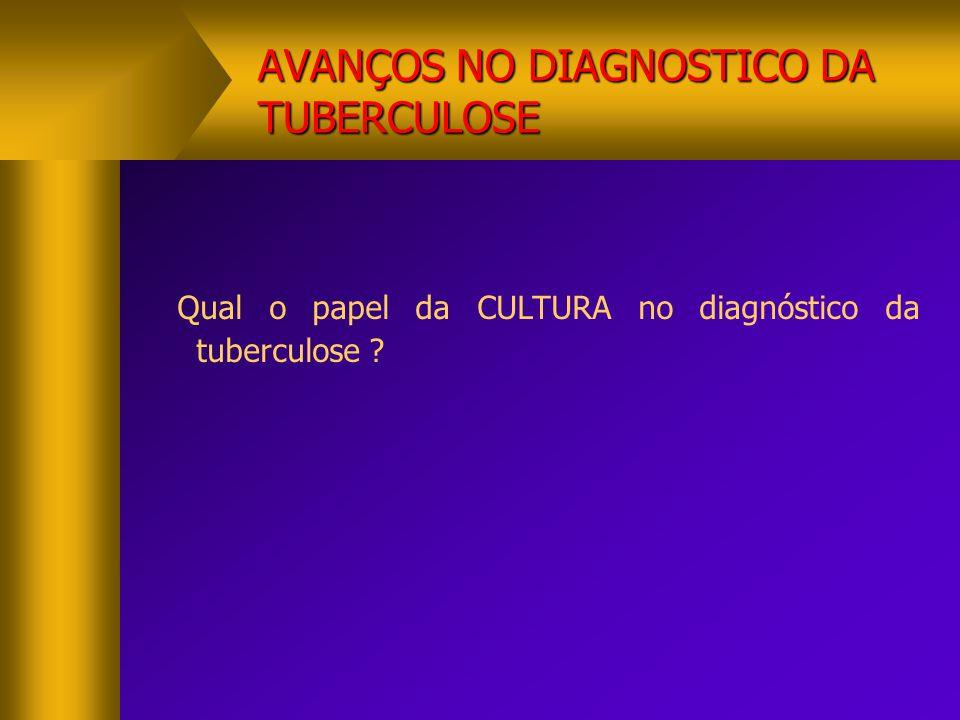 AVANÇOS NO DIAGNOSTICO DA TUBERCULOSE PADRÃO-OURO  CULTURA- PADRÃO-OURO  SENSIBILIDADE- ESPECIFICIDADE  MEIO SÓLIDO  AUMENTA O RENDIMENTO DIAGNÓSTICO EM 20 A 40%  LIMITAÇAO O TEMPO DO RESULTADO (2 A 8 SEMANAS)