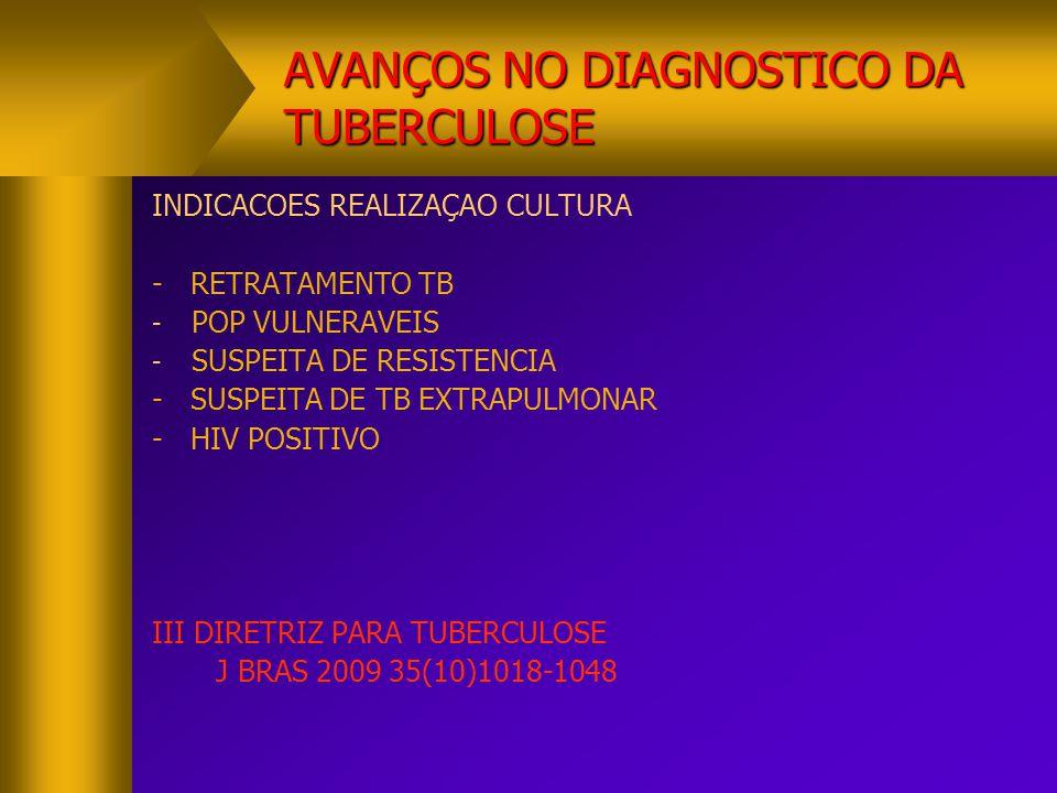 AVANÇOS NO DIAGNOSTICO DA TUBERCULOSE INDICACOES REALIZAÇAO CULTURA - RETRATAMENTO TB - POP VULNERAVEIS - SUSPEITA DE RESISTENCIA - SUSPEITA DE TB EXT