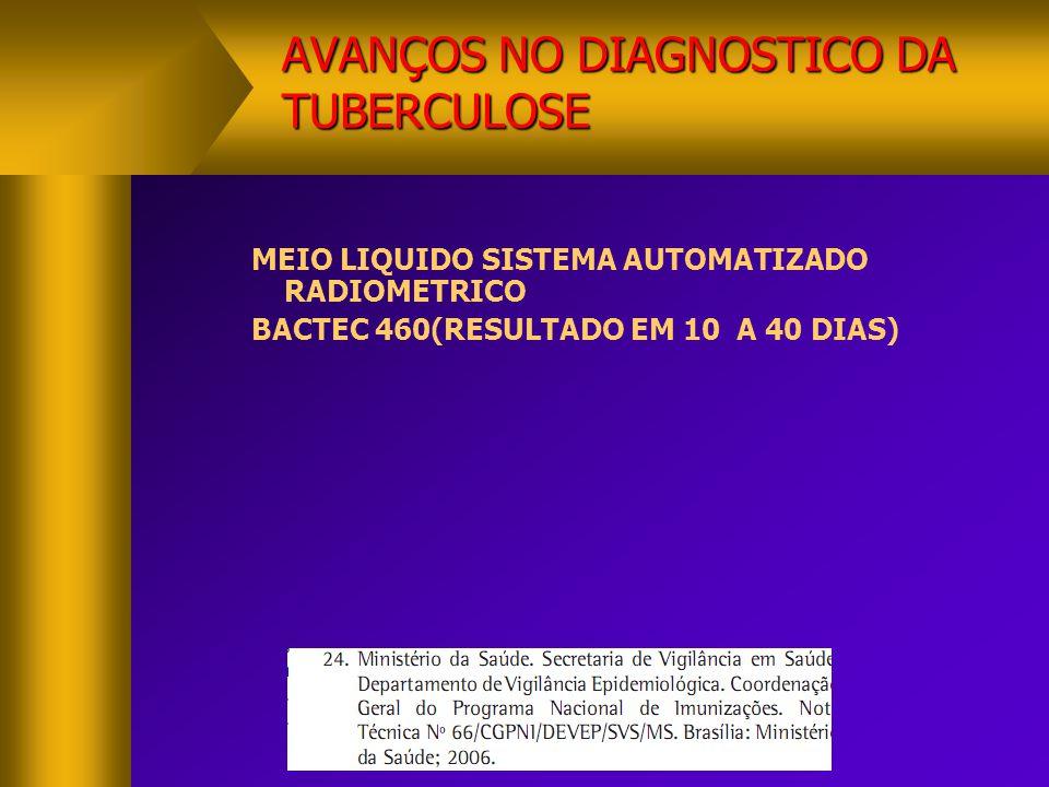 AVANÇOS NO DIAGNOSTICO DA TUBERCULOSE  TESTE DE SENSIBILIDADE SISTEMA AUTOMATIZADO  CULTURA LIQUIDA METODO BACTEC MGIT 960(tubo indicador crescimento Mtb)   REDUZ TEMPO -10 DIAS