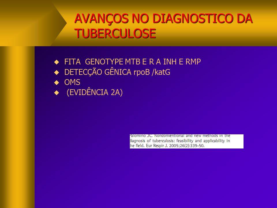 AVANÇOS NO DIAGNOSTICO DA TUBERCULOSE  XPERT ACIDO NUCLÉICO- PCR MTB(GENE rpoB) ACIDO NUCLÉICO- PCR MTB(GENE rpoB) TRIAR CEPAS RESISTENTES TRIAR CEPAS RESISTENTES NA TEMPERATURA DE 15 A 30 GRAUS NA TEMPERATURA DE 15 A 30 GRAUS -PURIFICACAO -CONCENTRACAO-AMPLIFICACAO