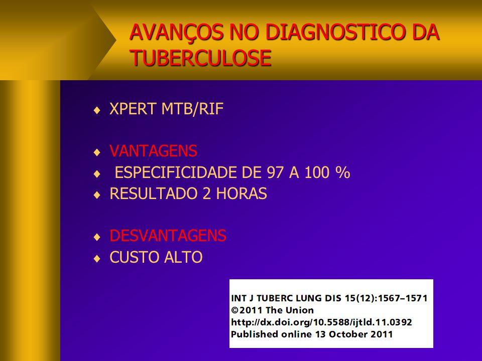 AVANÇOS NO DIAGNOSTICO DA TUBERCULOSE  XPERT (R=RMP)  PREVALENCIA R>15%  VPP ALTO  DETECÇÃO PRECOCE TBMR