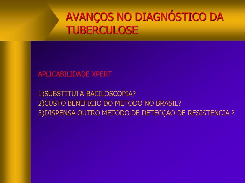 AVANÇOS NO DIAGNÓSTICO DA TUBERCULOSE APLICABILIDADE XPERT 1)SUBSTITUI A BACILOSCOPIA? 2)CUSTO BENEFICIO DO METODO NO BRASIL? 3)DISPENSA OUTRO METODO