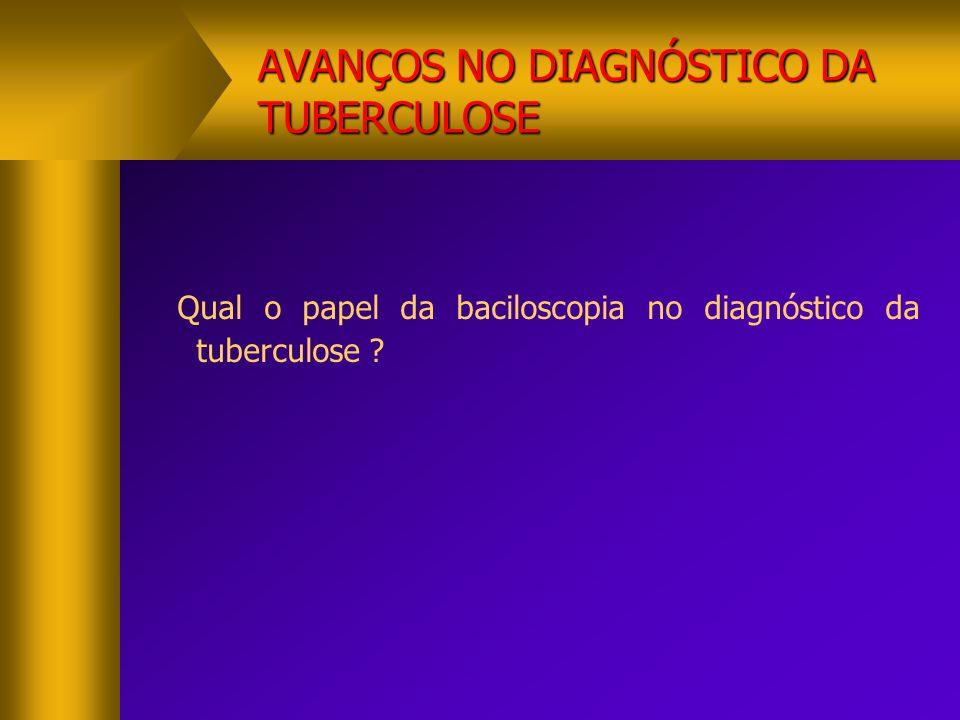 AVANÇOS NO DIAGNÓSTICO DA TUBERCULOSE Qual o papel da baciloscopia no diagnóstico da tuberculose ?