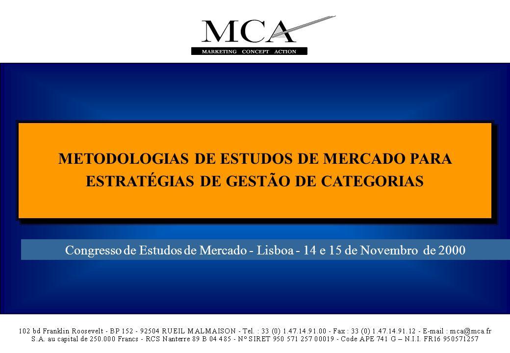 METODOLOGIAS DE ESTUDOS DE MERCADO PARA ESTRATÉGIAS DE GESTÃO DE CATEGORIAS Congresso de Estudos de Mercado - Lisboa - 14 e 15 de Novembro de 2000