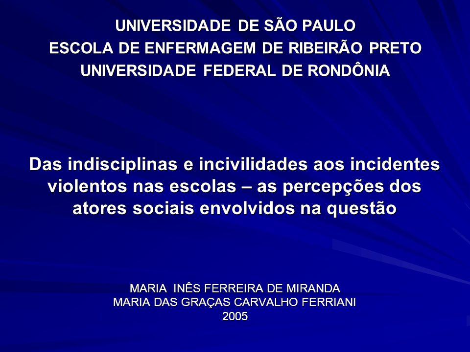 Das indisciplinas e incivilidades aos incidentes violentos nas escolas – as percepções dos atores sociais envolvidos na questão MARIA INÊS FERREIRA DE