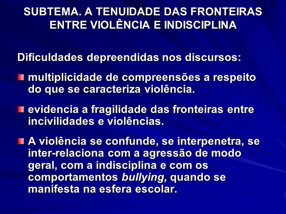 SUBTEMA. A TENUIDADE DAS FRONTEIRAS ENTRE VIOLÊNCIA E INDISCIPLINA Dificuldades depreendidas nos discursos: multiplicidade de compreensões a respeito