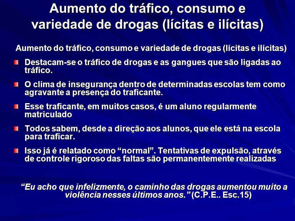 Aumento do tráfico, consumo e variedade de drogas (lícitas e ilícitas) Aumento do tráfico, consumo e variedade de drogas (lícitas e ilícitas) Aumento