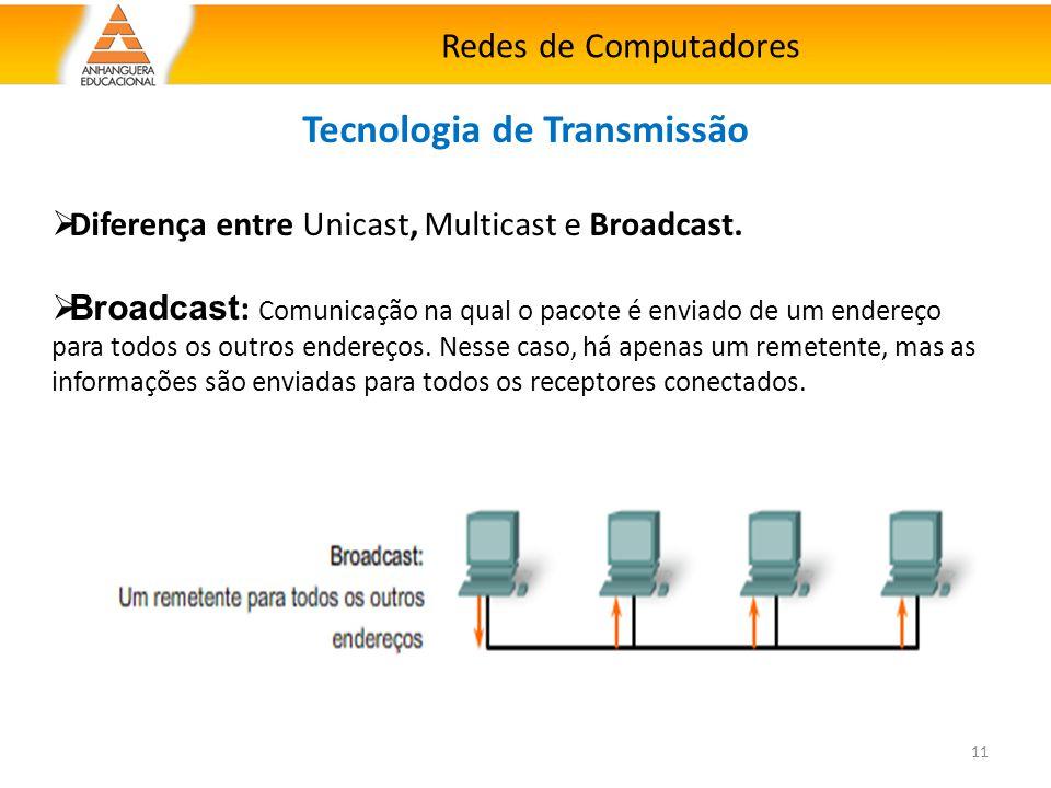 Redes de Computadores 11 Tecnologia de Transmissão  Diferença entre Unicast, Multicast e Broadcast.  Broadcast : Comunicação na qual o pacote é envi