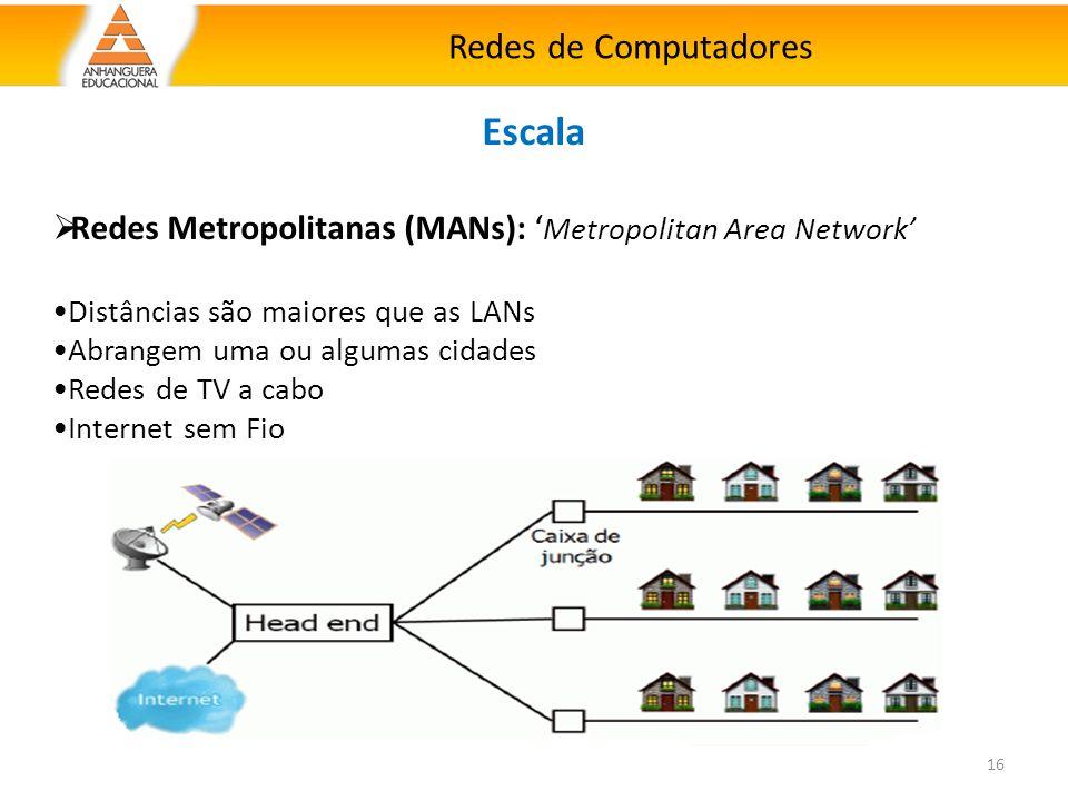 Redes de Computadores 16 Escala  Redes Metropolitanas (MANs): ' Metropolitan Area Network' Distâncias são maiores que as LANs Abrangem uma ou algumas