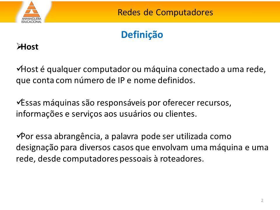2 Definição  Host Host é qualquer computador ou máquina conectado a uma rede, que conta com número de IP e nome definidos. Essas máquinas são respons