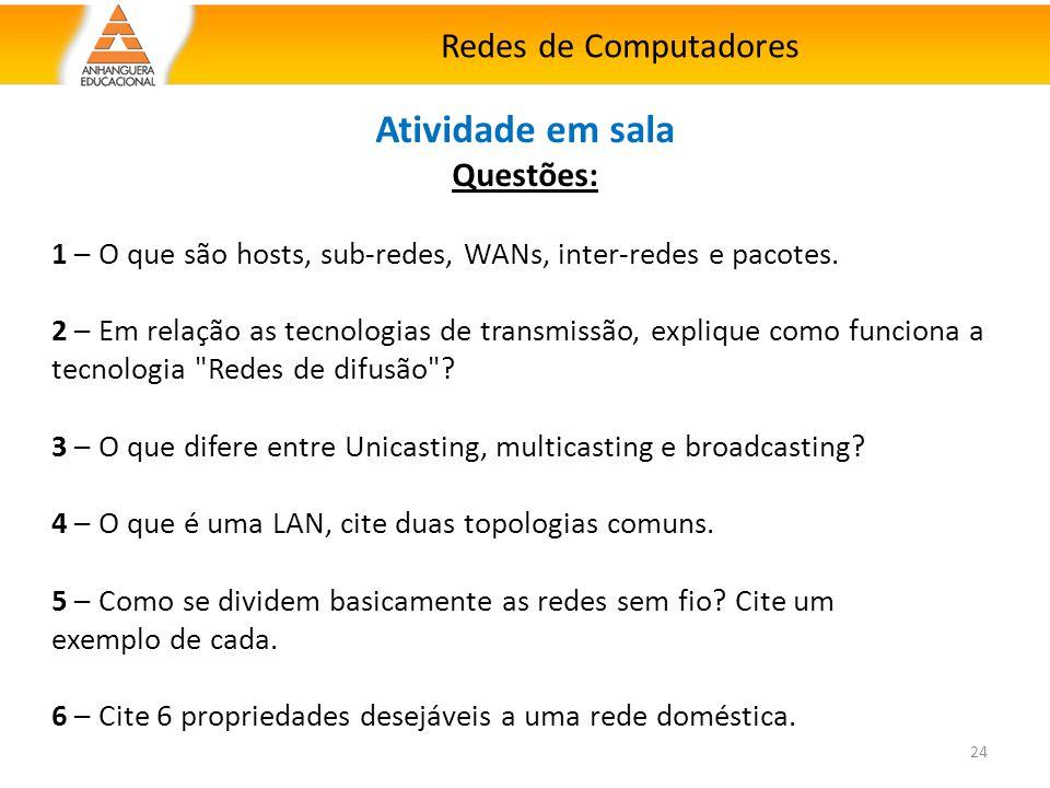 Redes de Computadores 24 Atividade em sala Questões: 1 – O que são hosts, sub-redes, WANs, inter-redes e pacotes. 2 – Em relação as tecnologias de tra