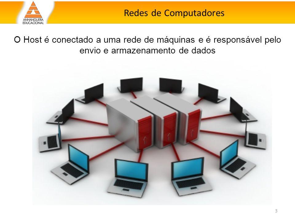 Redes de Computadores 3 O Host é conectado a uma rede de máquinas e é responsável pelo envio e armazenamento de dados