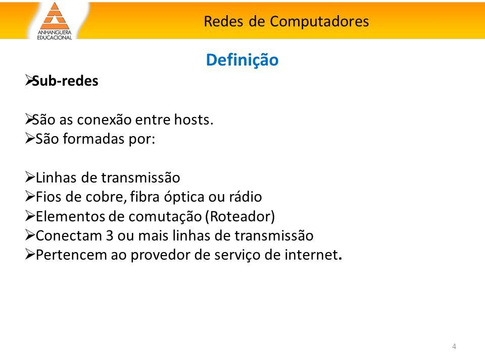 Redes de Computadores 4 Definição  Sub-redes  São as conexão entre hosts.  São formadas por:  Linhas de transmissão  Fios de cobre, fibra óptica