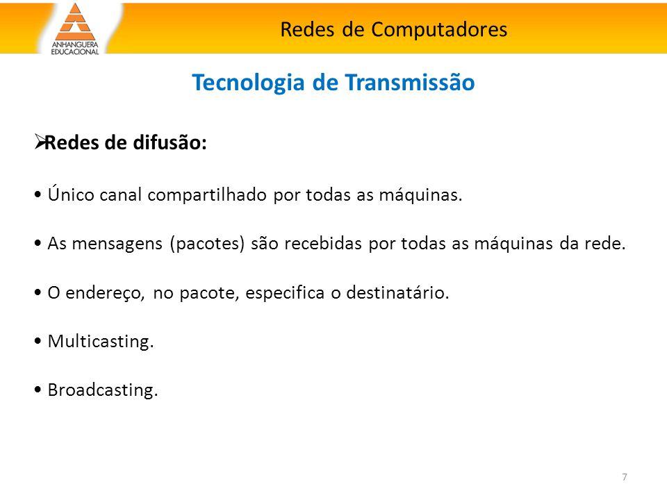 Redes de Computadores 7 Tecnologia de Transmissão  Redes de difusão: Único canal compartilhado por todas as máquinas. As mensagens (pacotes) são rece