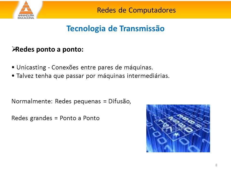 Redes de Computadores 8 Tecnologia de Transmissão  Redes ponto a ponto: Unicasting - Conexões entre pares de máquinas. Talvez tenha que passar por má