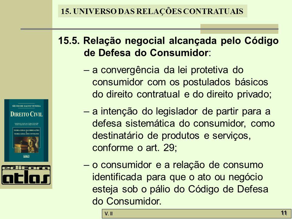 V. II 11 15. UNIVERSO DAS RELAÇÕES CONTRATUAIS 15.5. Relação negocial alcançada pelo Código de Defesa do Consumidor: – a convergência da lei protetiva
