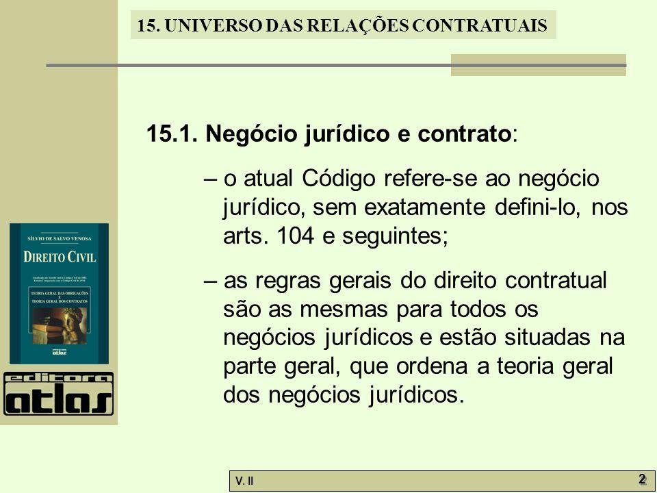 V. II 2 2 15. UNIVERSO DAS RELAÇÕES CONTRATUAIS 15.1. Negócio jurídico e contrato: – o atual Código refere-se ao negócio jurídico, sem exatamente defi