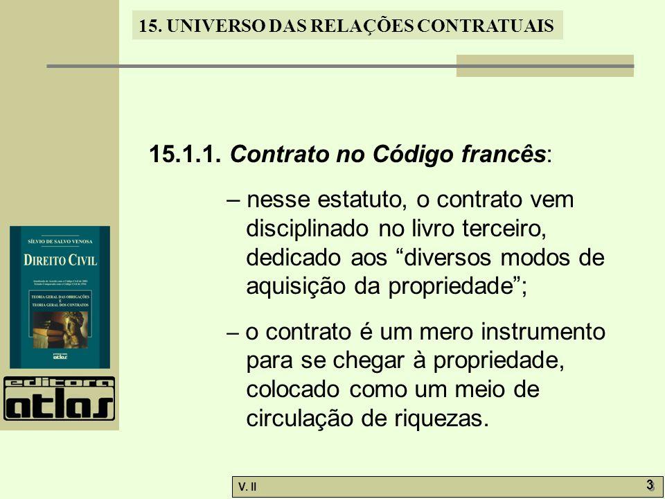V. II 3 3 15. UNIVERSO DAS RELAÇÕES CONTRATUAIS 15.1.1. Contrato no Código francês: – nesse estatuto, o contrato vem disciplinado no livro terceiro, d