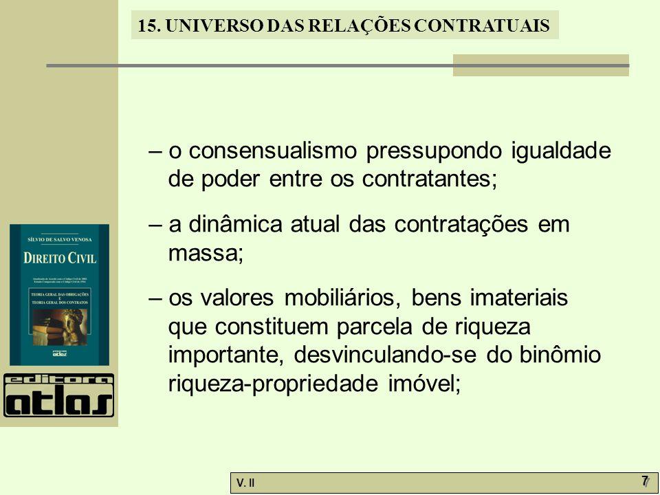 V. II 7 7 15. UNIVERSO DAS RELAÇÕES CONTRATUAIS – o consensualismo pressupondo igualdade de poder entre os contratantes; – a dinâmica atual das contra