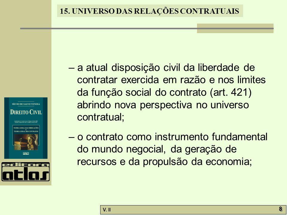 V. II 8 8 15. UNIVERSO DAS RELAÇÕES CONTRATUAIS – a atual disposição civil da liberdade de contratar exercida em razão e nos limites da função social