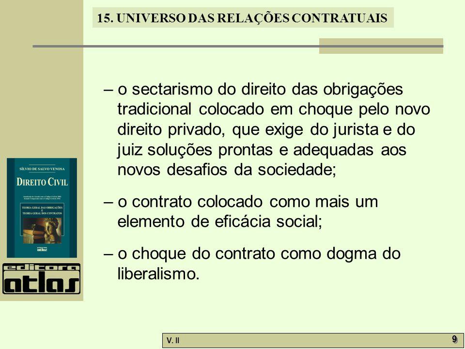 V. II 9 9 15. UNIVERSO DAS RELAÇÕES CONTRATUAIS – o sectarismo do direito das obrigações tradicional colocado em choque pelo novo direito privado, que