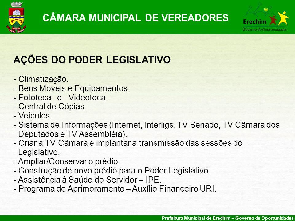 Prefeitura Municipal de Erechim – Governo de Oportunidades CÂMARA MUNICIPAL DE VEREADORES AÇÕES DO PODER LEGISLATIVO - Climatização.