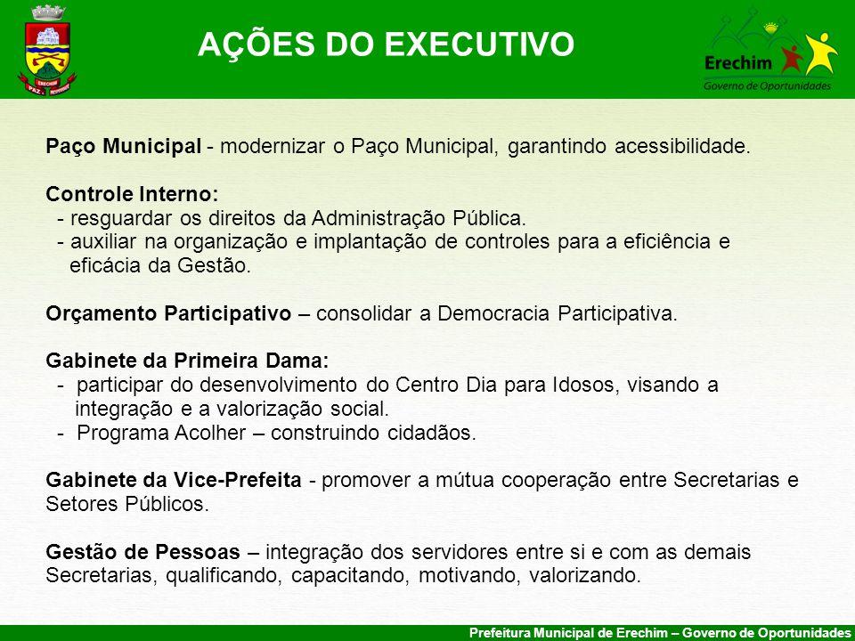 Prefeitura Municipal de Erechim – Governo de Oportunidades Paço Municipal - modernizar o Paço Municipal, garantindo acessibilidade.