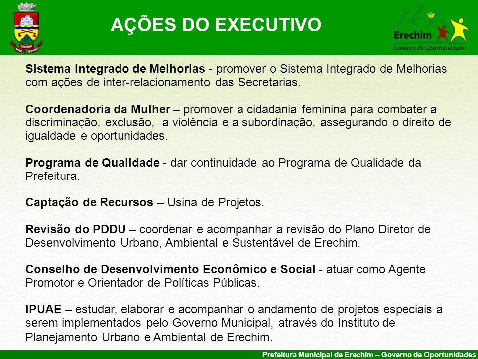Prefeitura Municipal de Erechim – Governo de Oportunidades Sistema Integrado de Melhorias - promover o Sistema Integrado de Melhorias com ações de inter-relacionamento das Secretarias.