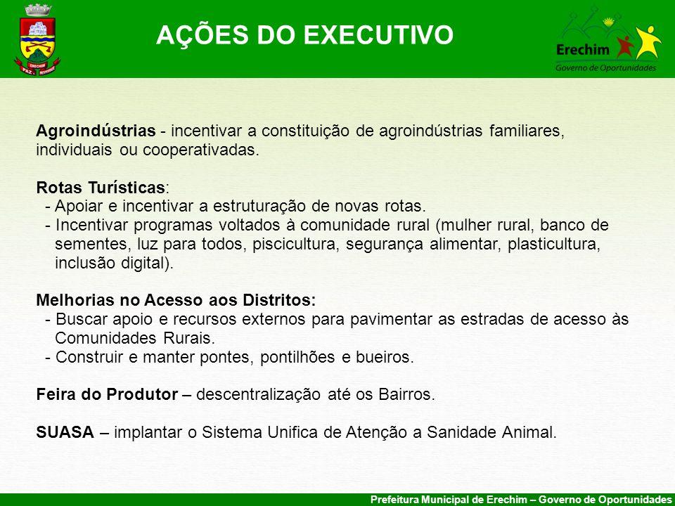 Prefeitura Municipal de Erechim – Governo de Oportunidades Agroindústrias - incentivar a constituição de agroindústrias familiares, individuais ou cooperativadas.