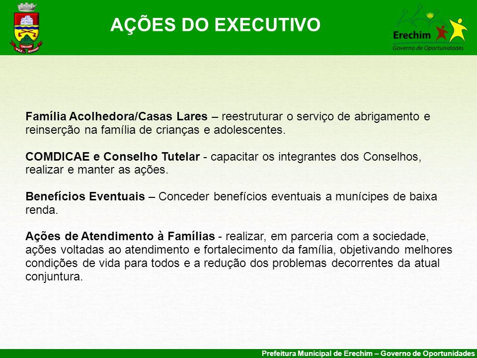 Prefeitura Municipal de Erechim – Governo de Oportunidades Família Acolhedora/Casas Lares – reestruturar o serviço de abrigamento e reinserção na família de crianças e adolescentes.