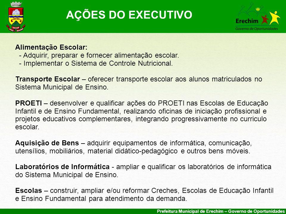 Prefeitura Municipal de Erechim – Governo de Oportunidades Alimentação Escolar: - Adquirir, preparar e fornecer alimentação escolar.