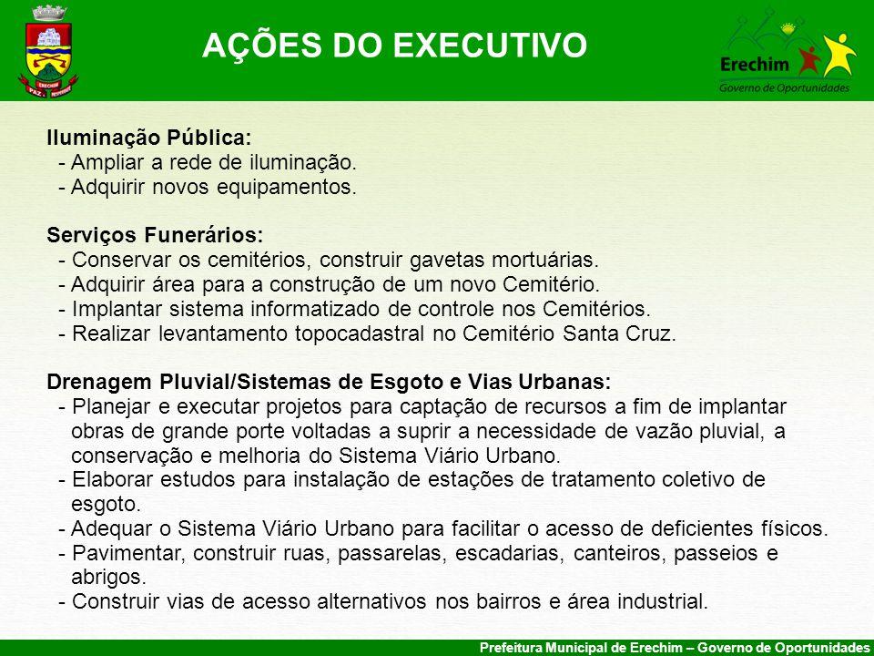 Prefeitura Municipal de Erechim – Governo de Oportunidades Iluminação Pública: - Ampliar a rede de iluminação.