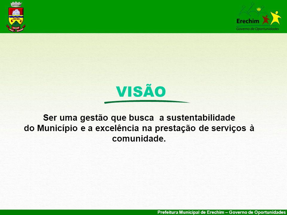 Prefeitura Municipal de Erechim – Governo de Oportunidades VISÃO Ser uma gestão que busca a sustentabilidade do Município e a excelência na prestação de serviços à comunidade.