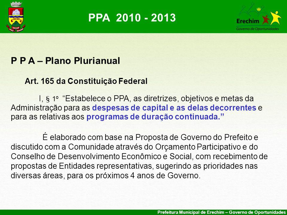 Prefeitura Municipal de Erechim – Governo de Oportunidades P P A – Plano Plurianual Art.