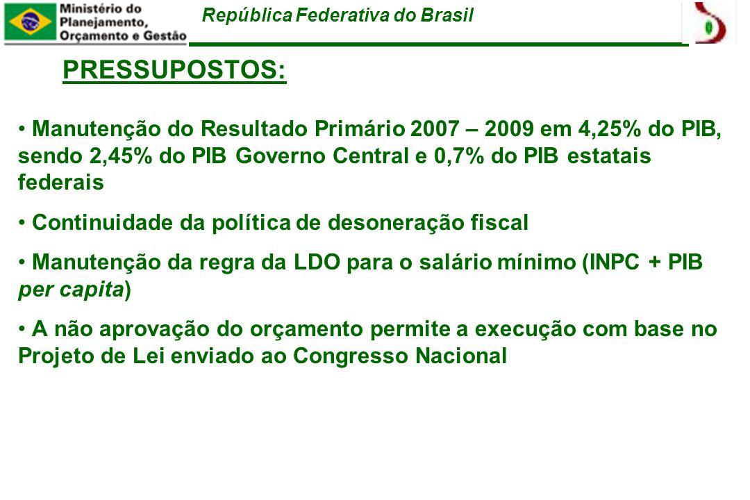República Federativa do Brasil PRESSUPOSTOS: Manutenção do Resultado Primário 2007 – 2009 em 4,25% do PIB, sendo 2,45% do PIB Governo Central e 0,7% do PIB estatais federais Continuidade da política de desoneração fiscal Manutenção da regra da LDO para o salário mínimo (INPC + PIB per capita) A não aprovação do orçamento permite a execução com base no Projeto de Lei enviado ao Congresso Nacional