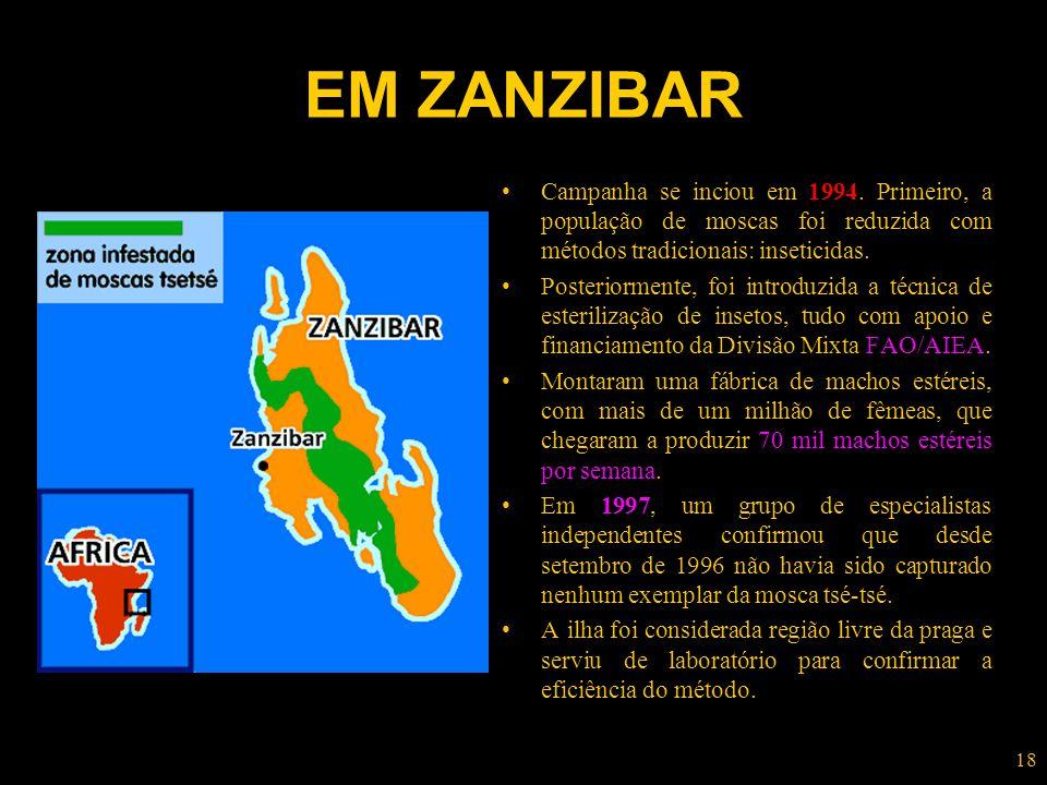 18 EM ZANZIBAR Campanha se inciou em 1994. Primeiro, a população de moscas foi reduzida com métodos tradicionais: inseticidas. Posteriormente, foi int