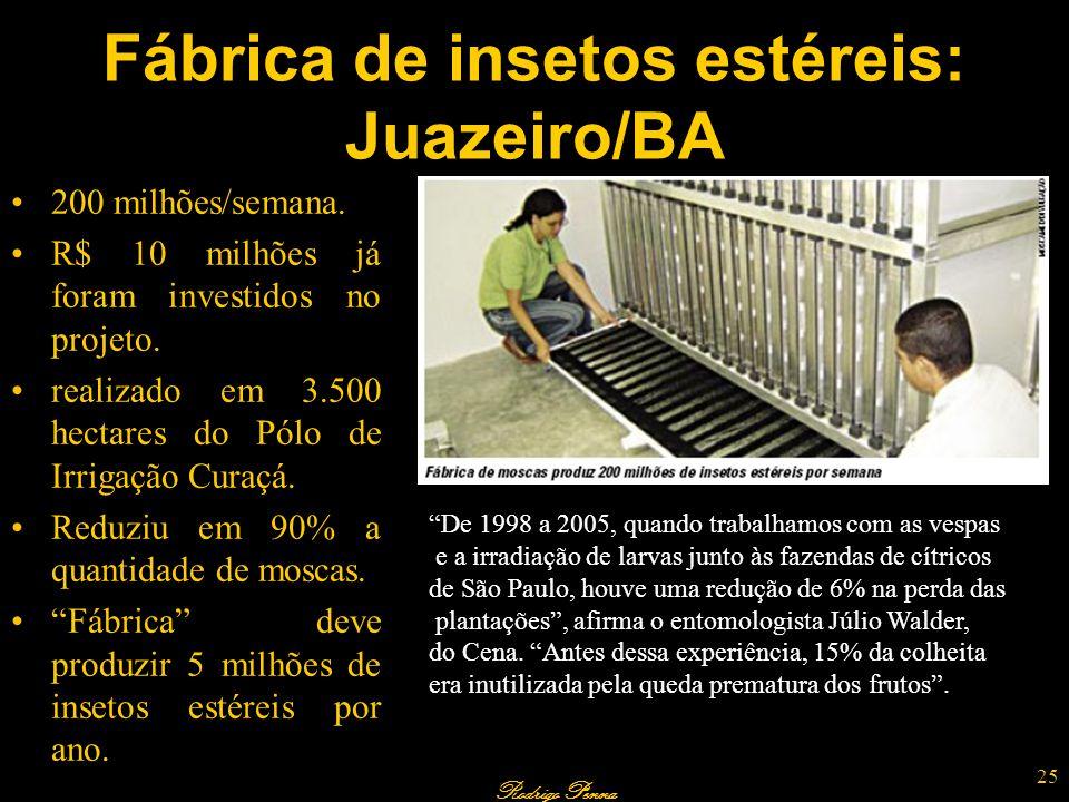 Rodrigo Penna Fábrica de insetos estéreis: Juazeiro/BA 200 milhões/semana. R$ 10 milhões já foram investidos no projeto. realizado em 3.500 hectares d