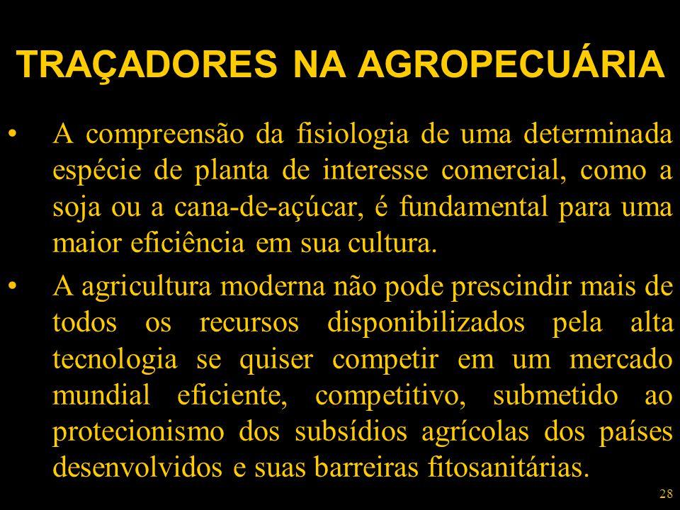 28 TRAÇADORES NA AGROPECUÁRIA A compreensão da fisiologia de uma determinada espécie de planta de interesse comercial, como a soja ou a cana-de-açúcar