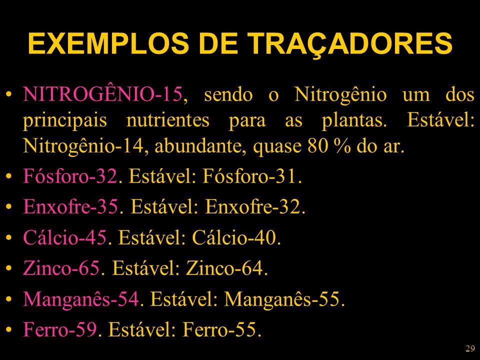 29 EXEMPLOS DE TRAÇADORES NITROGÊNIO-15, sendo o Nitrogênio um dos principais nutrientes para as plantas. Estável: Nitrogênio-14, abundante, quase 80
